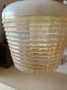 Mid Century Vintage Frosted Glass Pendant Light Shade, Pale Gold & White