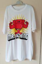 Mr. fuerte desayuno de Algodón Blanco para Hombre Diseño Impreso Camiseta Mangas Cortas Talla L