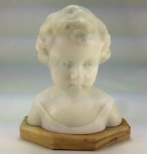 "Antique Austria  ""The Little  Girl"" by E.H. Frederic Alabaster Bust Marble Base"