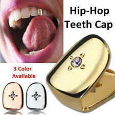 Custom Fit Hip Hop Single Tooth Men Mouth Diamond Plated Caps Set Classic