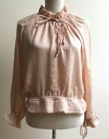 Lucy Paris Blouse Pink Long Sleeve Ruffled Women's Size S