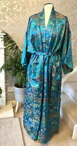 Oriental Kimono DA HWA F2 Men's Or Women's Turquoise Embroidered With Tie Belt