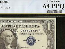1957 A $1 DOLLAR NEAR SOLID 8880 8884 SILVER CERTIFICATE NOTE PCGS 64 PPQ