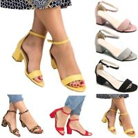 Women Ladies Low Block Heel Black Sandals Ankle Strap Work Smart Shoe Size 35-42