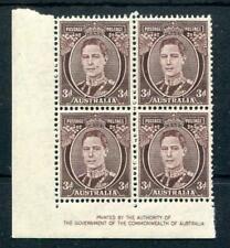 Australia 1937-49 3d purple-brown SG187 MNH Imprint Block