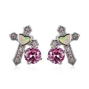 Fashion Heart Cross Silver Filled White simulated Opal Ear Stud Earrings Jewelry