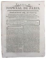 Thermomètre de l'Observatoire de Paris 1789 Mony Journal de Paris