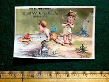 1870s-80s Kids Doll Floating Away Ocean, Jules Wendell Jeweler Trade Card F28