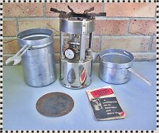 Vintage Coleman 530 GI Pocket Camp Backpack Stove  A47 + Can + Funnel + Manual