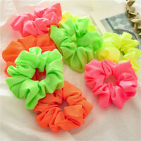 Fluorescent Color Scrunchies Elastic Hair Ties Ponytail Bright Hair Accessory G#