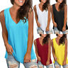 Women Summer Loose V Neck Sleeveless Vest Shirt Casual Tunic Tank Tops Blouse