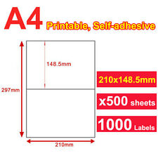 100 Sheet 2 up 210 x 148.5mm Peel & Paste Label A4 Office Mailing Address labels