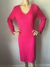 NWT St John Knit Evening dress sz 12 pink cerise with jewels santana wool rayon
