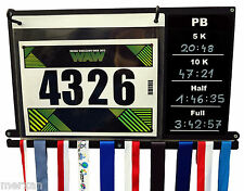 Medal hanger, display and bibs holder with chalkboard for personal records