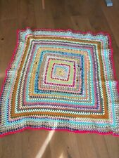 Handmade vintage 1970retro crochet granny  blanket bed throw camping 42x43inches