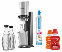 SODASTREAM CRYSTAL SUPER SPAR PACK WASSERSPRUDLER + 3 GLASKARAFFEN + CO2 + SIRUP