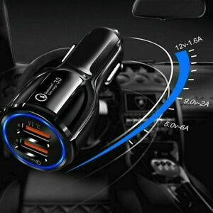 Fast Charge 3.0 Car Charger 2 USB Ports Power Adapter Cigarette Lighter Socket