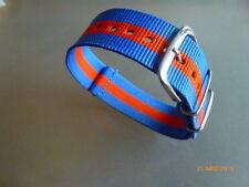 Uhrenarmband Nylon 22 mm blau orange blau  NATOBAND Dornschließe Textil
