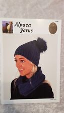 Indiecita Knitting Pattern #1538 To Knit Cabled Beanie & Cowl in Alpaca DK Yarn
