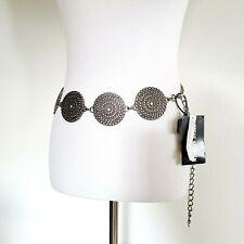 Steve Madden Round Metal Chain Belt Size S/M New Silver Round Design Links