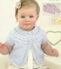 1419 Baby Girl Aran Short/Long Sleeve Cardigan Vintage Knitting Pattern 0 -7yrs