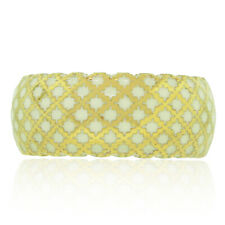 Gucci Diamantissima 18k Yellow Gold White Enamel Woven Ring
