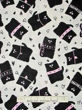 Cat Fabric - Animal Black Kitty Cat Pink Heart Benartex #06578 Smudgy Cat - Yard