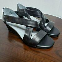 David Tate Swell Cross Strap Black Leather Wedge Heel Sandal Womens Size 10 WW