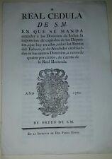 REAL CEDULA DE S.M. EN QUE SE MANDA A EXTENDER A.......1780. JOSEPH DE GALVEZ
