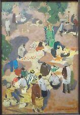 Lucien MARTIAL (1892-1987) huile sur panneau Le marché peintre de la marine