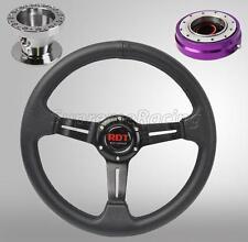 Black Steering Wheel Kit w/Quick Release PR For Toyota Celica Corolla Cressida