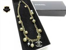 CHANEL Necklace Chain Gold CC Logo Mark Black Fake Pearl Ribbon