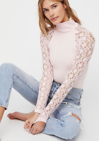 NEW Free People Intimately Rib and Lace Turtleneck Top in Pink XS/S-M/L $62.88