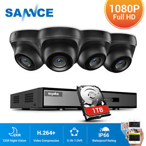 SANNCE 1TB HD 5IN1 4CH DVR 3000TVL Dome Outdoor CCTV Camera Home Security System