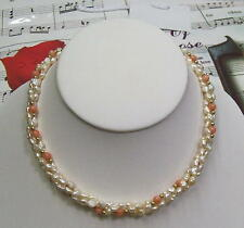 Triple Strand Fresh Water Pearls With Genuine Coral And 14K GF Necklace. FWCN01