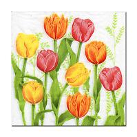 4 Servietten Motivservietten Napkins Tovaglioli Blumen Tulpe Tulpen (635)
