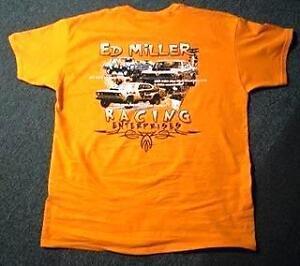 ED MILLER RACING T SHIRTS FEATURING ALL THREE CHAMPIONSHIP WINNING HEMI MOPARS !