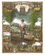 Rare Antique 1873 Gift for the Grangers Husbandry Art Print Poster 12x18 P of H