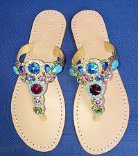 .NEW 7 MYSTIQUE Jeweled Rhinestone Crystal Gold Leather Thong Sandals Flip Flops