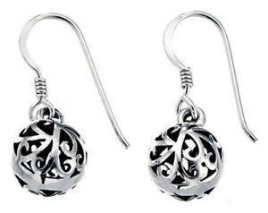 Elements 10mm 925 Oxidised Sterling Silver Filigree Puffed Orb Drop Earrings
