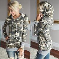Womens Camouflage Printing Pocket Hoodie Sweatshirt Hooded Pullover Tops Blouse