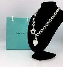 """Authentic-Tiffany & Co. Heart Tag Toggle Necklace 16"""" Engravable"""