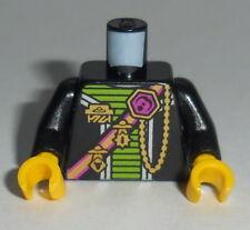 TORSO M061 Lego Male Black Jacket w/ Gold Medals Lime Undershirt NEW Commander