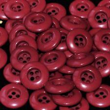 Mercerie lot de 5 boutons plastique rouge bordeaux 18mm button