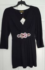BOB MACKIE Wearable Art Embroidered Black Tunic Babydoll 3/4 Sleeve Medium NEW