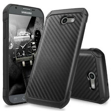 For Samsung Galaxy J3 Emerge Hybrid Carbon Fiber Slim TPU Armor Hard Case Cover
