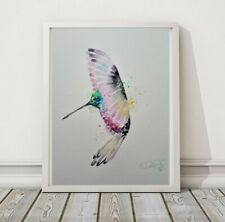 More details for new elle smith large original signed watercolour art painting of a hummingbird