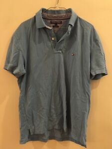Mens TOMMY HILFIGER Classic Blue Polo T-Shirt Top Size L good condition RRP $129