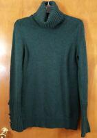 BANANA REPUBLIC Size L Green Turtleneck Pullover Merino Wool Sweater