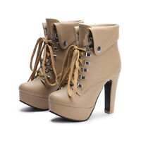 Womens Riding High Heel Lace Up Metal Combat Ankle Boots Shoes ALL Size  New 10